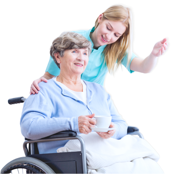 elder woman on wheel chair together with her caregiver