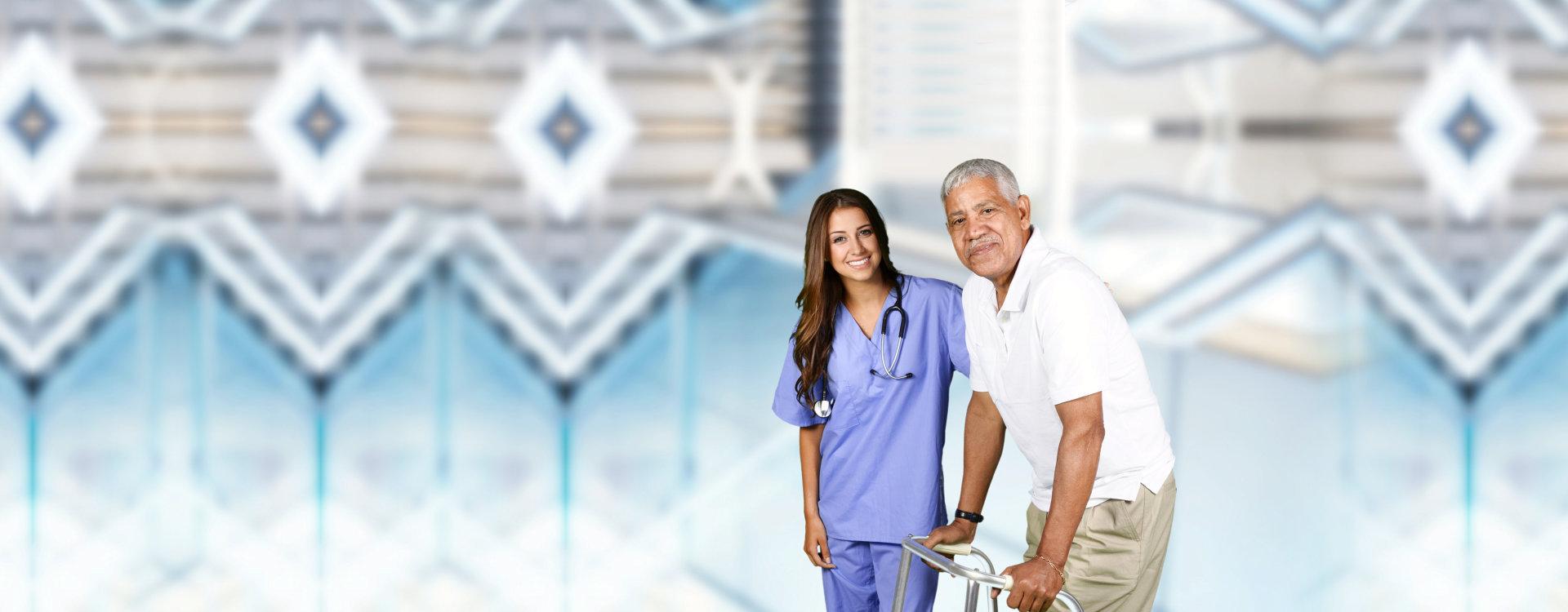 caregiver assisting elder man in walking