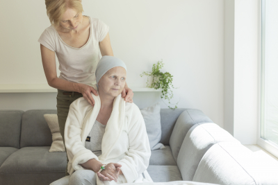 caregiver support sick woman with breast cancer